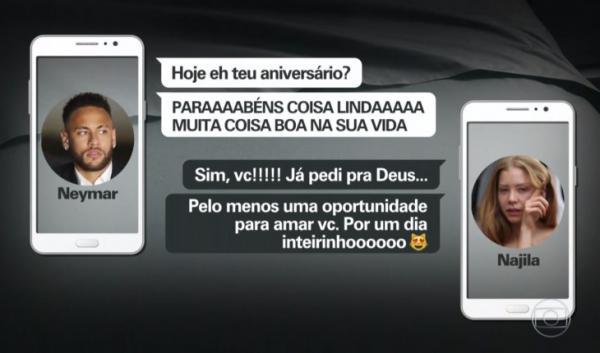 Fantástico divulga novas mensagens entre Najila e Neymar e modelo teria se autolesionado