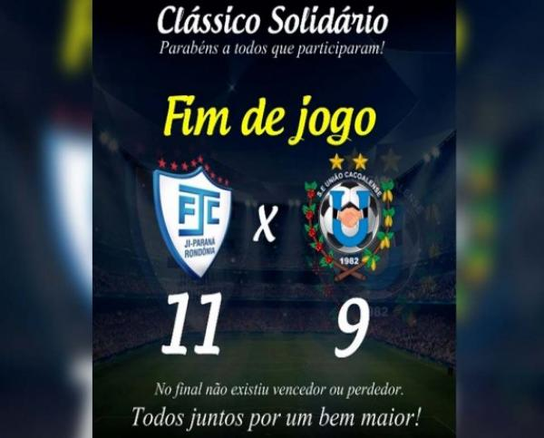 ESPORTE - Em clássico solidário, Ji-Paraná supera o União Cacoalense