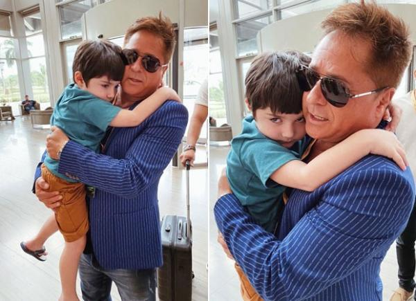 Leonardo aparece com o neto e encanta fãs