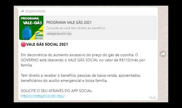 É falso que governo federal oferece vale-gás de R$ 110