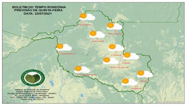 Confira a previsão do tempo para esta quinta-feira (22) em Rondônia