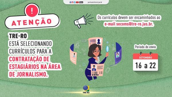 TRE-RO abre vagas para estágio na área de Jornalismo