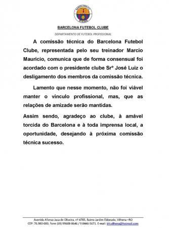 Márcio Maurício e parte de comissão técnica do Barça deixa o clube